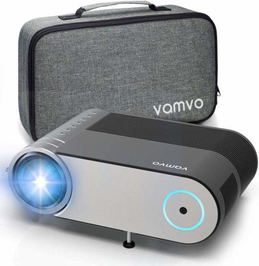 Vamvo® Mini beamer, 4000 lumen, 1280 x 720p, met draagtas, ondersteunt 1080p multimedia projector LED 50.000 uur voor onderweg of thuisbioscoop op Mobiel, PS4, XBOX ONE, Wii compatibel met HDMI/USB