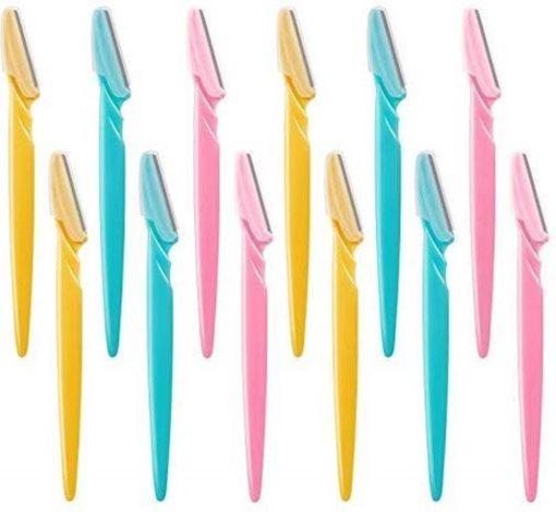 Tinkeke Premium Wenkbrauwen Scheermesjes - Haar mesje - Set - 12 Stuks -14.5x3.8cm -Wenkbrauw Trimmer - Elektrische Scheerapparaat - Pijnloos gezichtshaar verwijderen - Haar epilator - Wit od Roze®