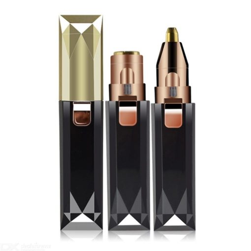 2 In 1 Pijnloos Dame Wenkbrauw Scheerapparaat Gezichtshaar Verwijderen Mini Lipstick Epilator Pen Gezicht Okselhaar Remover Trimmer Make-up
